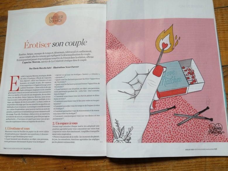«La créativité érotique» dans le magazine Psychologies